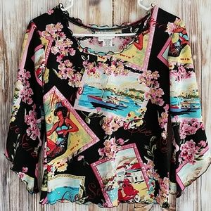 Vacation theme blouse embellished S